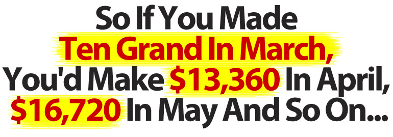 So If You Made Ten Grand In March, In April You'd Make $13,360, In May $16,720 And So On...